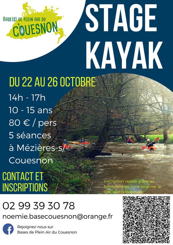 Affiche pour le stage kayak de la Toussaint 2018